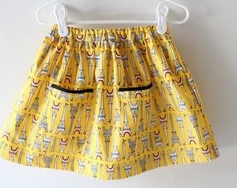 Yellow Skirt, Yellow and Black skirt, Eiffel Tower Skirt, Paris Skirt, Toddler Skirt, Girl Skirt, Baby Skirt, Summer Skirt, Spring Skirt
