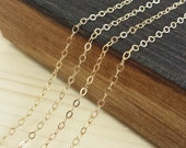Gold 2x1mm Flat Cable Chain - Bulk Chain, 5 feet, 10 feet, 25 feet, or 50 feet - Gold Plated - Soldered Links - Nickel Free