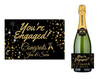 "Personalized ""You're Engaged!"" Wine or Champagne Bottle Label. Congrats on your Engagement, Couples Gift"