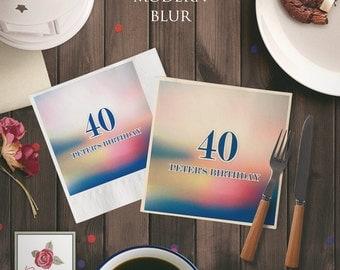 Modern Blur - Birthday Paper Napkins (set of 50)
