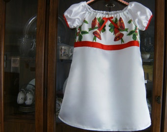 White Satin 2/3T Christmas Dress, Upcycled 2/3T Christmas Dress, Christmas Bells 2/3T Girl's Dress, 2/3T Christmas Peasant Dress