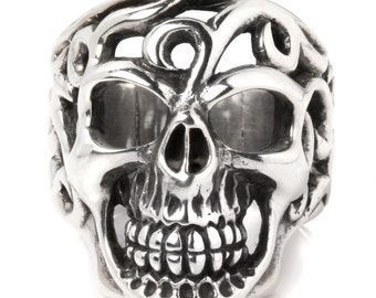 Huge Skull Celtic Art Tattoo 925 Sterling Silver Ring Gothic Biker Jewelry