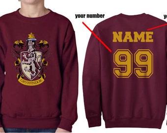Custom on back Gryffin Crest #1 on Maroon Crew neck Sweatshirt