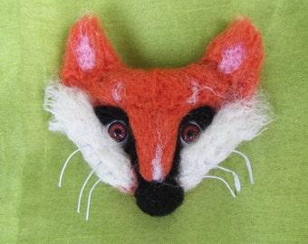 Fox brooch felted, Fox brooch felted, Woolen brooch Fox, Fox booch, Felted brooch animal fox, Fox -2-in-1 brooch-hairclip, Christmas gift