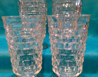 Vintage Whitehall Clear Glass Footed Tumblers - Set of Eight