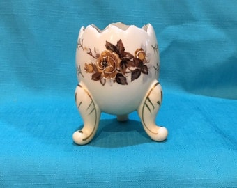 Three Footed Rose Floral Egg Vase