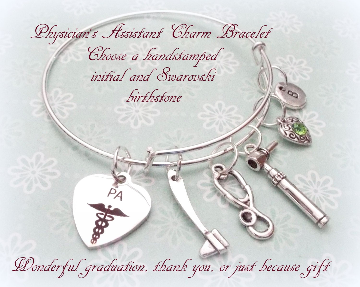 Physicians Assistant Gift, Gift Idea for PA, PA Charm Bracelet ...