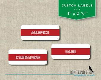 DIY Printable Spice Jar Labels - Red Bright Lights Spice Jar Labels - Home Organizing Stickers - Instant Download