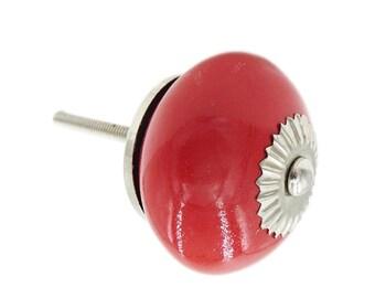 Solid Red Round Ceramic Dresser Drawer, Cabinet, Door Knob Pull - W6.1