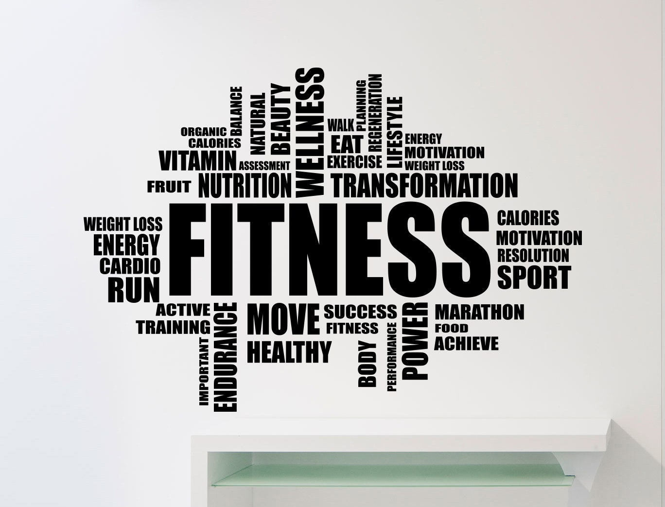 Fitness motivation word cloud wall sticker gym quote sports