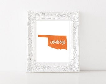 Oklahoma State University Cowboys Watercolor State Print (8x10 x 5x7)