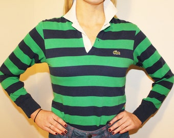 80s Vintage Blue Green Striped Izod Lacoste Rugby