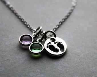 baby footprint birthstone necklace, birthstone necklace, baby footprint necklace, new mother necklace, baby footprint jewelry, new mother