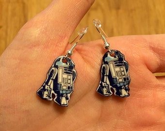 Blue R2-D2 dangle earrings