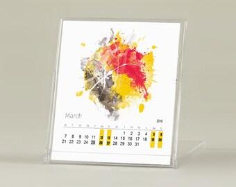 Calendar, Watercolor calendar, Universes, Printable calendar, Monthly Calendar, CD calendar, Desk Calendar, Small calendar,Desktop, Download