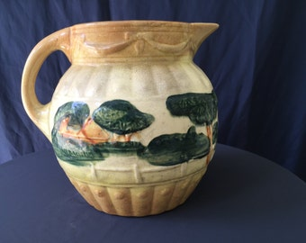 Vintage Flora Pottery Pitcher