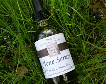 Organic Acne Serum, Synthetic Free, Blemished Skin Treatment, Sensitive Skin Care, Natural Acne Clearing Serum