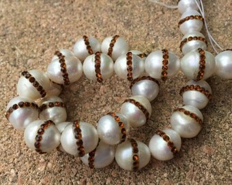 Freshwater White Rice Pearls With A Center Band Of CZ Stones ( 10 Beads )