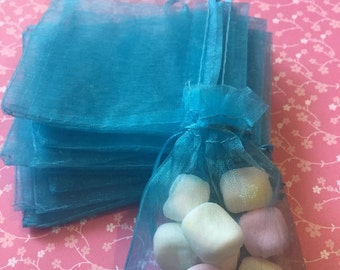 12pcs organza bags Turquoise