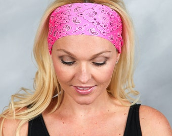 Yoga Headband Pink Bandana Headwrap Running Headband Workout Headband Fitness Headband No Slip Headband Fashion Headband Women Head Wrap