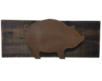 Pig Decor   Rusted Steel Pig Raised Off Of Scorched Wood   Kitchen Piggy,  Piglet