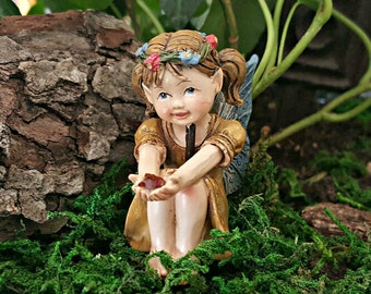 "Miniature Fairy Little Girl in Gold with or without 6.5"" Stake"