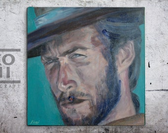Clint Eastwood portrait painting