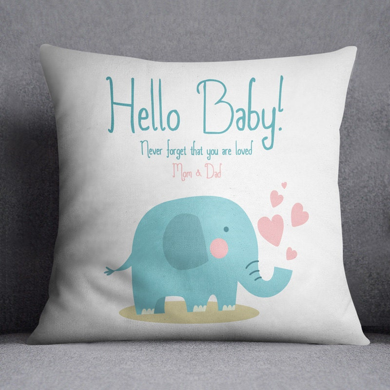 Animal Pillow For Baby : Baby shower Elephant Pillow Animal Custom text pillow