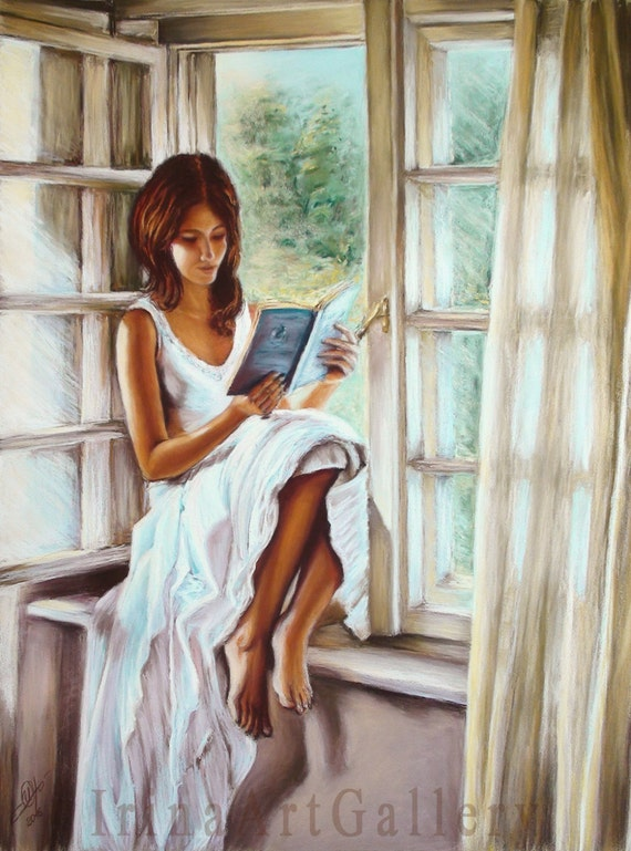 realistic window drawing. girl reading book window sunlight pastel painting interior drawing original realistic art romantic white dress summer 20\