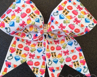 Girly Emoji Cheer Bows // Cheer Bow Ribbon // Cheerleading Bows // Cheerbows // Cheer Practice Wear // Softball Hair Bows