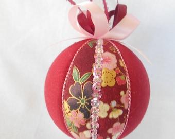 Christmas ornament, holiday decoration, Christmas gift, Kimekomi ornament, Japanese fabric