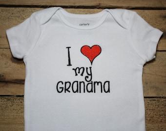 Embroidered Baby Bodysuit I Love My Grandma Heart Personalized Monogrammed Grandpa