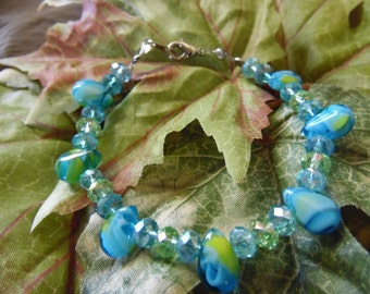 Handmade Beaded Bracelet Blue And Green 7 Inches