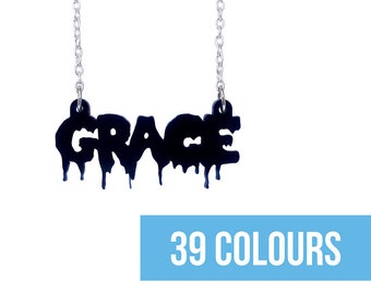 Gothic necklace Name necklace Horror name necklace Teenager name Horror jewelry Personalized gothic Custom horror Gothic necklace Kitsch