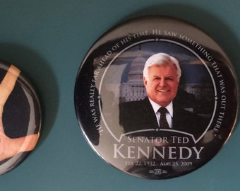 Two Political Buttons: Ted Kennedy and Sarah Palin Democratic