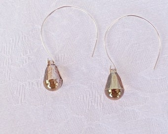 Bronze Crystal Hoop Earrings