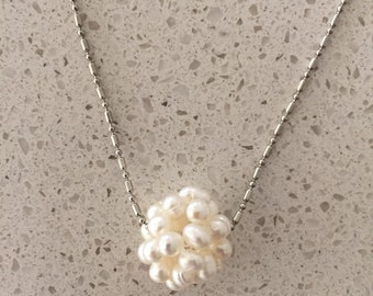 Created pearl cluster pendant necklace