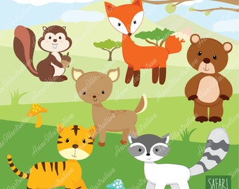 Safari clipart, Personal & Commercial use, digital clipart, vector, Instant download Illustration_AN1-02