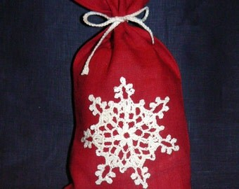 linen bags, linen bags with crochet lace,linen gift bags
