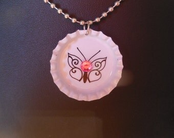 Butterfly with Pink Cyrstal Bottle Cap Necklace