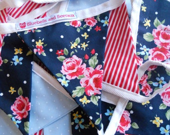 Navy Floral and Red Candy Stripe Bunting