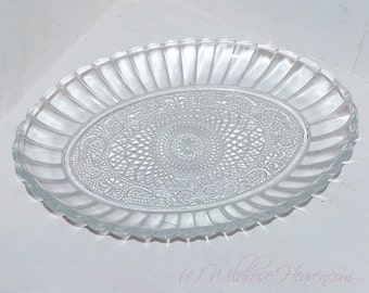 Clear Pressed  Glass Oval Dish -  411