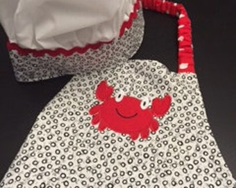 Crab Apron & Chef Hat for Children - 3 to 6 years old