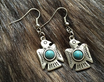 Earrings - Native American Eagle with turquoise colored accents