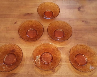 Amber Glass Serving Bowls. Set of 6