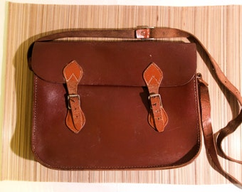 Vintage leather messenger bag from the 1980s