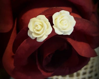 Ivory Rose Stud Earrings (Small)