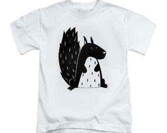 """Toddler t-shirt white with a black hand made screen printing  """"squirrel"""""""