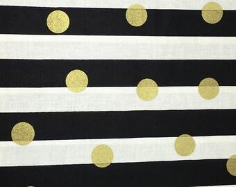 Black & Gold Polka Dot Metallic White Striped Floral Apparel Quilting 100% Cotton Fabric 1 Yard