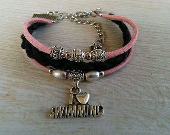 I Love Swimming Charm Bracelet for Girls// Pink & Black Stacking Friendship Bracelet// Teen Sports Bracelet// Choose Cord Colors and Charm